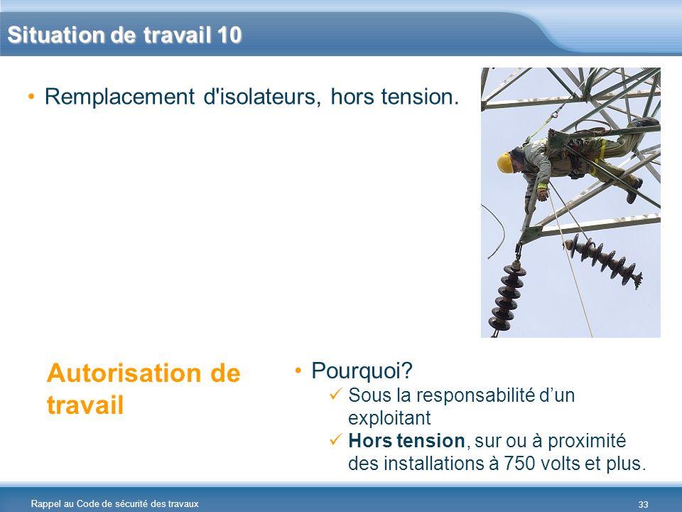 Rappel au Code de sécurité des travaux Situation de travail 10 Remplacement d'isolateurs, hors tension. Autorisation de travail Pourquoi? Sous la resp