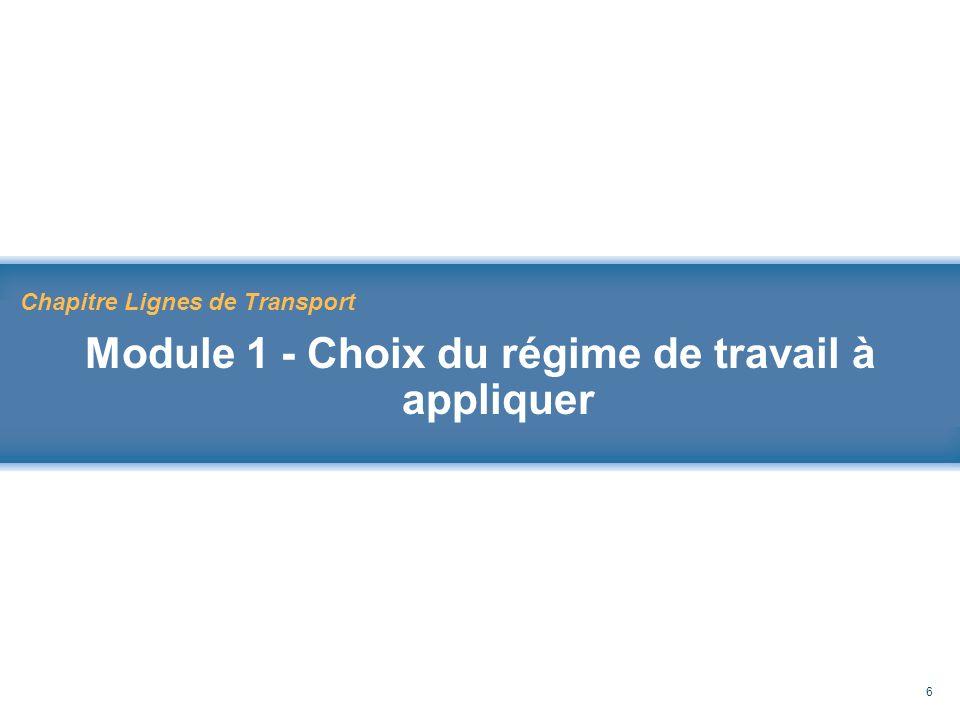 Rappel au Code de sécurité des travaux 6 Chapitre Lignes de Transport Module 1 - Choix du régime de travail à appliquer