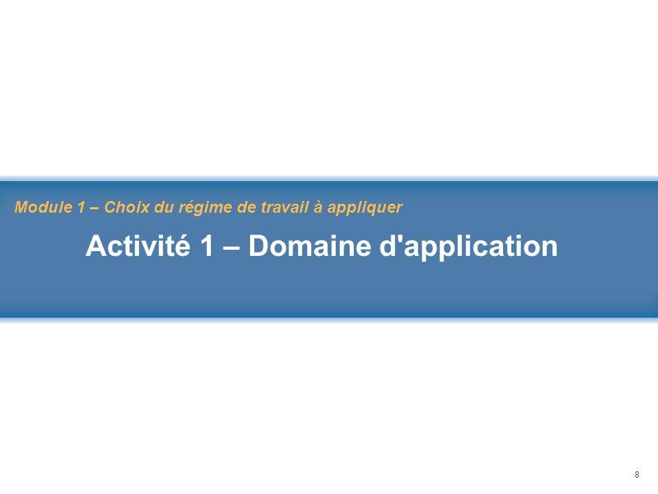 Rappel au Code de sécurité des travaux 8 Module 1 – Choix du régime de travail à appliquer Activité 1 – Domaine d'application