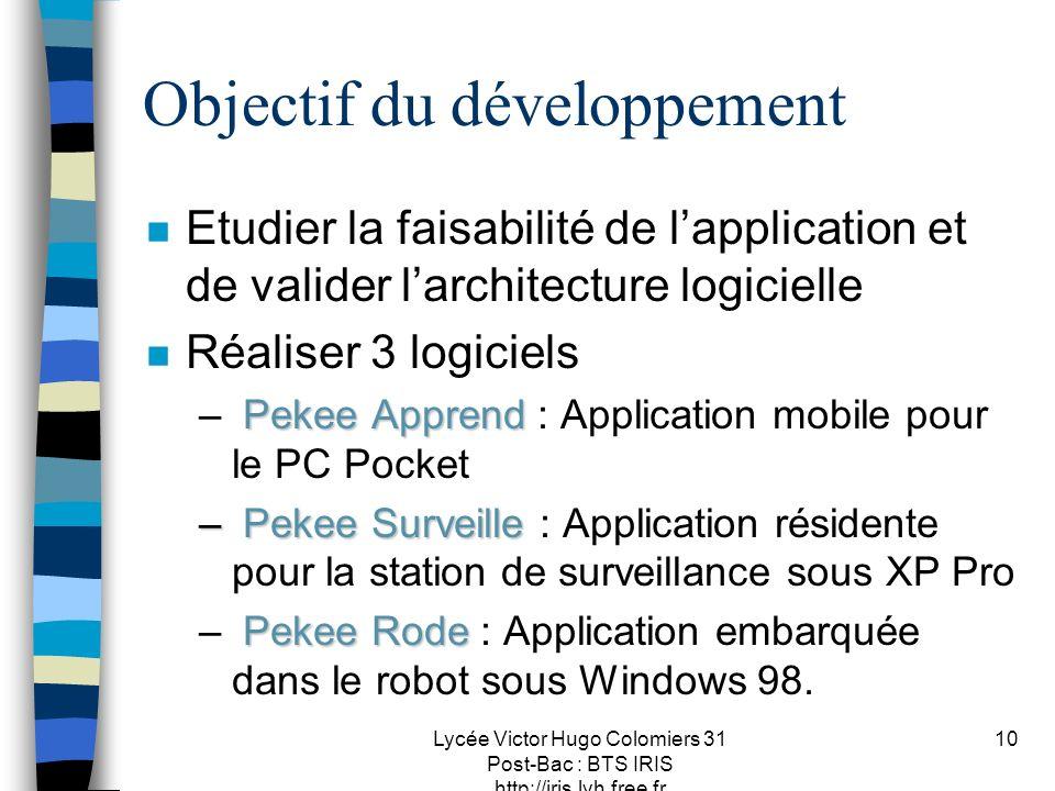 Lycée Victor Hugo Colomiers 31 Post-Bac : BTS IRIS http://iris.lvh.free.fr 10 Objectif du développement n Etudier la faisabilité de lapplication et de