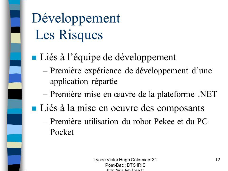 Lycée Victor Hugo Colomiers 31 Post-Bac : BTS IRIS http://iris.lvh.free.fr 12 Développement Les Risques n Liés à léquipe de développement –Première ex