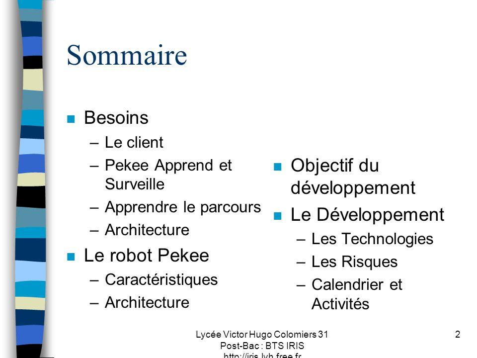 Lycée Victor Hugo Colomiers 31 Post-Bac : BTS IRIS http://iris.lvh.free.fr 2 Sommaire n Besoins –Le client –Pekee Apprend et Surveille –Apprendre le p