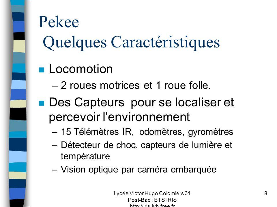 Lycée Victor Hugo Colomiers 31 Post-Bac : BTS IRIS http://iris.lvh.free.fr 8 Pekee Quelques Caractéristiques n Locomotion –2 roues motrices et 1 roue folle.