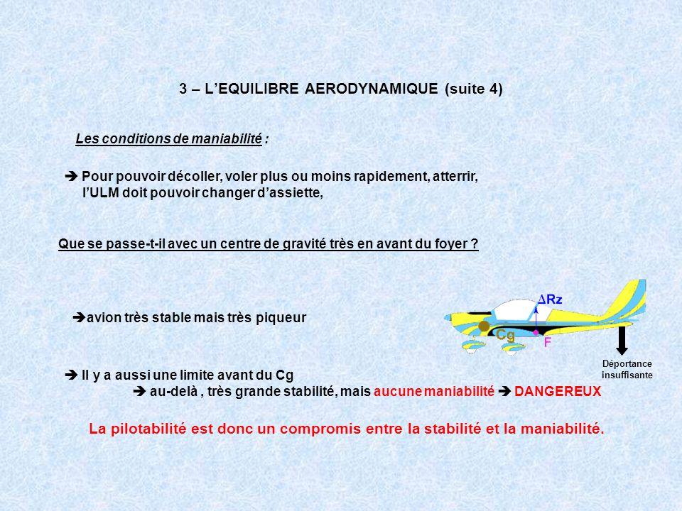 3 – LEQUILIBRE AERODYNAMIQUE (suite 4) Les conditions de maniabilité : Pour pouvoir décoller, voler plus ou moins rapidement, atterrir, lULM doit pouv