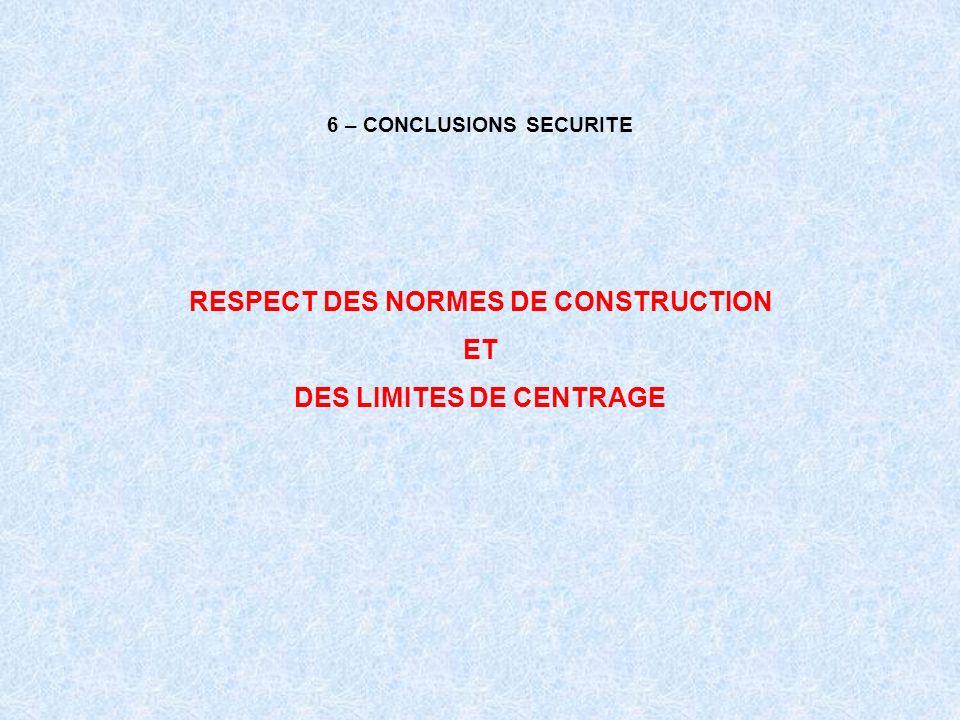 6 – CONCLUSIONS SECURITE RESPECT DES NORMES DE CONSTRUCTION ET DES LIMITES DE CENTRAGE
