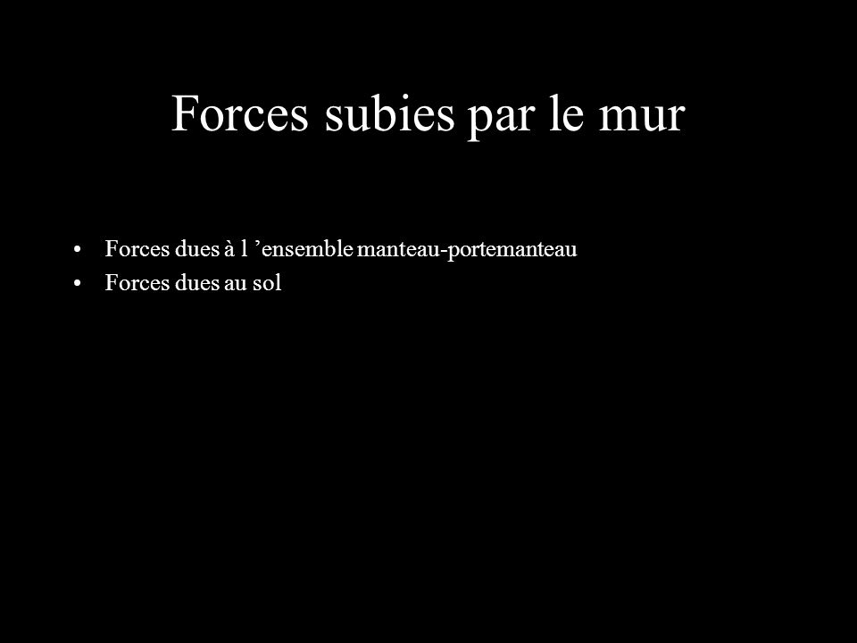 Forces subies par le mur Forces dues à l ensemble manteau-portemanteau Forces dues au sol