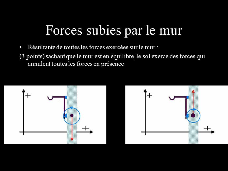 Forces subies par le mur Résultante de toutes les forces exercées sur le mur : (3 points) sachant que le mur est en équilibre, le sol exerce des force