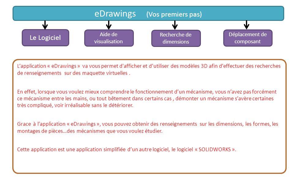 Déplacement de composant Lapplication « eDrawings » va vous permet d'afficher et dutiliser des modèles 3D afin deffectuer des recherches de renseignem