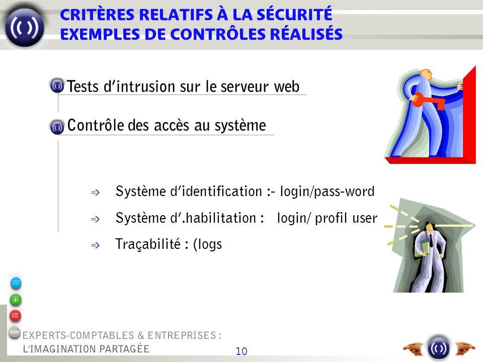 10 CRITÈRES RELATIFS À LA SÉCURITÉ EXEMPLES DE CONTRÔLES RÉALISÉS Tests dintrusion sur le serveur web Contrôle des accès au système é Système didentif