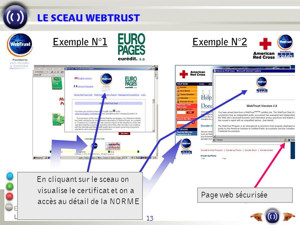 13 LE SCEAU WEBTRUST Page web sécurisée En cliquant sur le sceau on visualise le certificat et on a accès au détail de la NORME Exemple N°1Exemple N°2