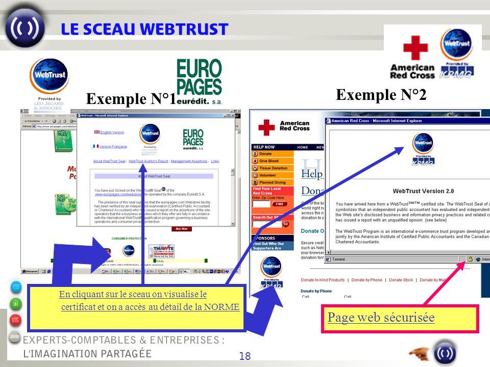 18 LE SCEAU WEBTRUST Page web sécurisée En cliquant sur le sceau on visualise le certificat et on a accès au détail de la NORME Exemple N°1 Exemple N°