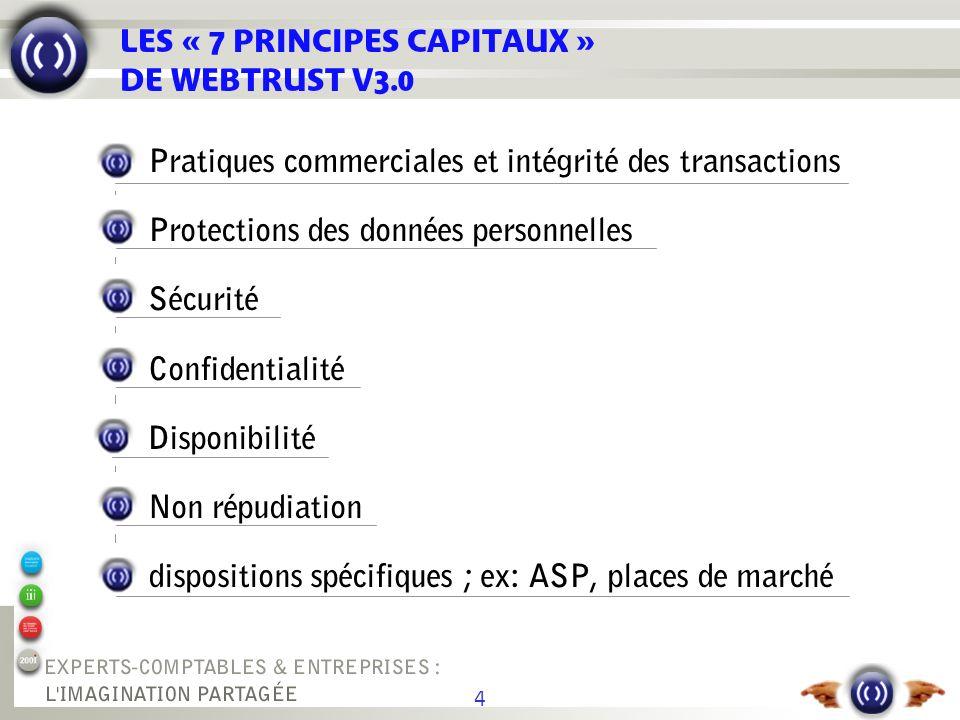 4 LES « 7 PRINCIPES CAPITAUX » DE WEBTRUST V3.0 Pratiques commerciales et intégrité des transactions Protections des données personnelles Sécurité Con