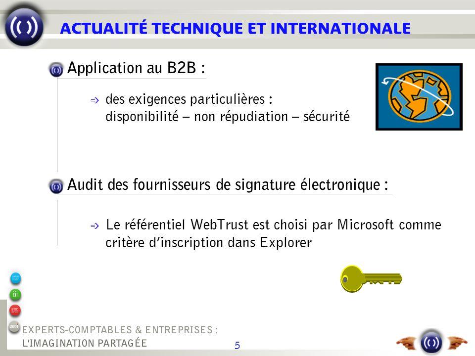 5 ACTUALITÉ TECHNIQUE ET INTERNATIONALE Application au B2B : é des exigences particulières : disponibilité – non répudiation – sécurité Audit des four