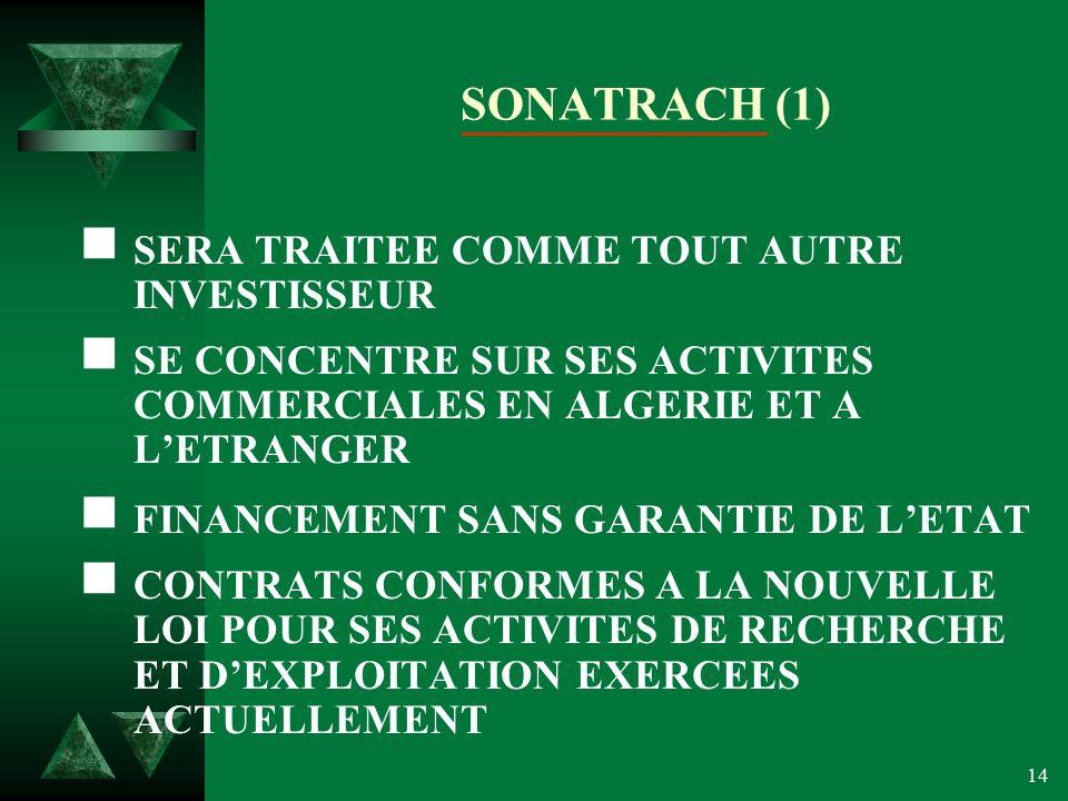 14 SONATRACH (1) SERA TRAITEE COMME TOUT AUTRE INVESTISSEUR SE CONCENTRE SUR SES ACTIVITES COMMERCIALES EN ALGERIE ET A LETRANGER FINANCEMENT SANS GARANTIE DE LETAT CONTRATS CONFORMES A LA NOUVELLE LOI POUR SES ACTIVITES DE RECHERCHE ET DEXPLOITATION EXERCEES ACTUELLEMENT