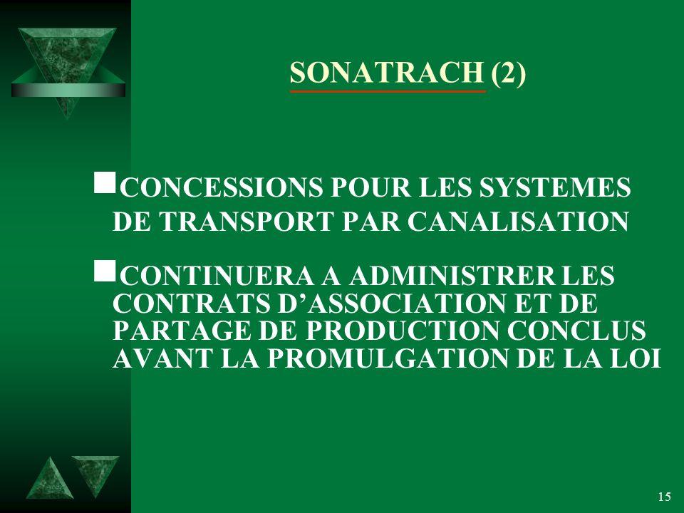 15 SONATRACH (2) CONCESSIONS POUR LES SYSTEMES DE TRANSPORT PAR CANALISATION CONTINUERA A ADMINISTRER LES CONTRATS DASSOCIATION ET DE PARTAGE DE PRODUCTION CONCLUS AVANT LA PROMULGATION DE LA LOI