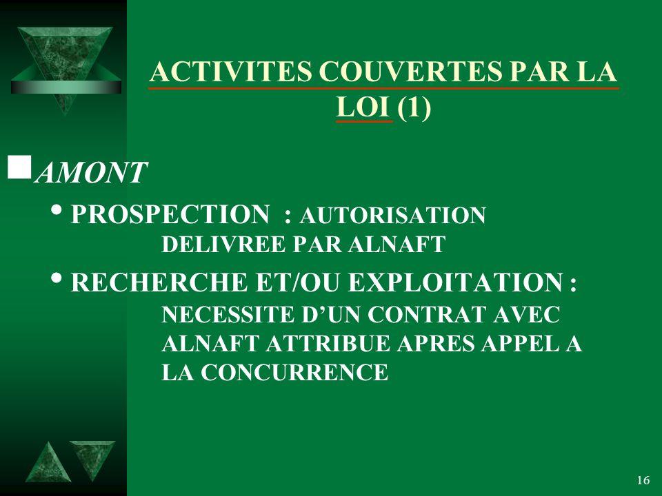 16 ACTIVITES COUVERTES PAR LA LOI (1) AMONT PROSPECTION : AUTORISATION DELIVREE PAR ALNAFT RECHERCHE ET/OU EXPLOITATION : NECESSITE DUN CONTRAT AVEC ALNAFT ATTRIBUE APRES APPEL A LA CONCURRENCE