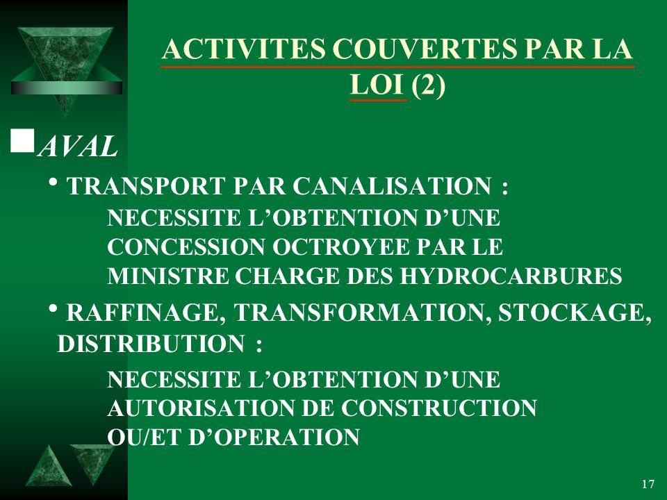 17 ACTIVITES COUVERTES PAR LA LOI (2) AVAL TRANSPORT PAR CANALISATION : NECESSITE LOBTENTION DUNE CONCESSION OCTROYEE PAR LE MINISTRE CHARGE DES HYDROCARBURES RAFFINAGE, TRANSFORMATION, STOCKAGE, DISTRIBUTION : NECESSITE LOBTENTION DUNE AUTORISATION DE CONSTRUCTION OU/ET DOPERATION