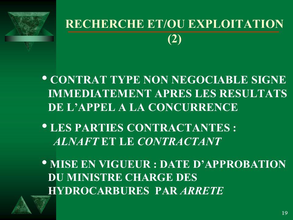 19 RECHERCHE ET/OU EXPLOITATION (2) CONTRAT TYPE NON NEGOCIABLE SIGNE IMMEDIATEMENT APRES LES RESULTATS DE LAPPEL A LA CONCURRENCE LES PARTIES CONTRACTANTES : ALNAFT ET LE CONTRACTANT MISE EN VIGUEUR : DATE DAPPROBATION DU MINISTRE CHARGE DES HYDROCARBURES PAR ARRETE