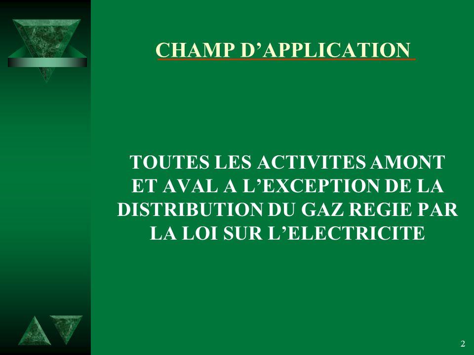 2 CHAMP DAPPLICATION TOUTES LES ACTIVITES AMONT ET AVAL A LEXCEPTION DE LA DISTRIBUTION DU GAZ REGIE PAR LA LOI SUR LELECTRICITE