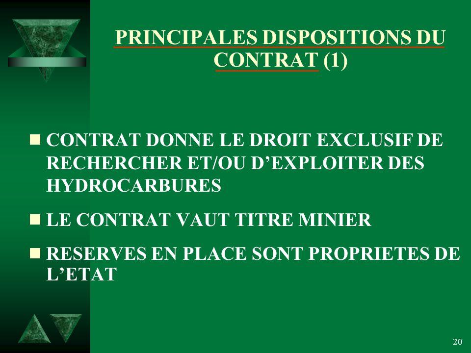 20 PRINCIPALES DISPOSITIONS DU CONTRAT (1) CONTRAT DONNE LE DROIT EXCLUSIF DE RECHERCHER ET/OU DEXPLOITER DES HYDROCARBURES LE CONTRAT VAUT TITRE MINIER RESERVES EN PLACE SONT PROPRIETES DE LETAT