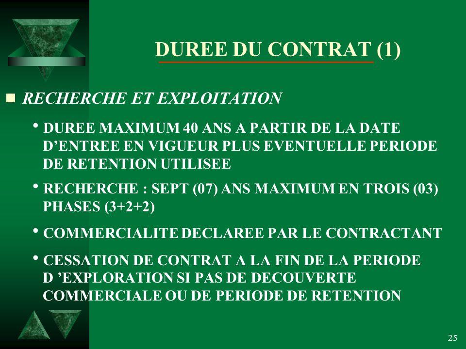 25 DUREE DU CONTRAT (1) RECHERCHE ET EXPLOITATION DUREE MAXIMUM 40 ANS A PARTIR DE LA DATE DENTREE EN VIGUEUR PLUS EVENTUELLE PERIODE DE RETENTION UTILISEE RECHERCHE : SEPT (07) ANS MAXIMUM EN TROIS (03) PHASES (3+2+2) COMMERCIALITE DECLAREE PAR LE CONTRACTANT CESSATION DE CONTRAT A LA FIN DE LA PERIODE D EXPLORATION SI PAS DE DECOUVERTE COMMERCIALE OU DE PERIODE DE RETENTION