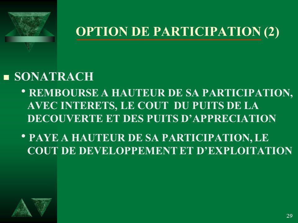 29 OPTION DE PARTICIPATION (2) n SONATRACH REMBOURSE A HAUTEUR DE SA PARTICIPATION, AVEC INTERETS, LE COUT DU PUITS DE LA DECOUVERTE ET DES PUITS DAPPRECIATION PAYE A HAUTEUR DE SA PARTICIPATION, LE COUT DE DEVELOPPEMENT ET DEXPLOITATION
