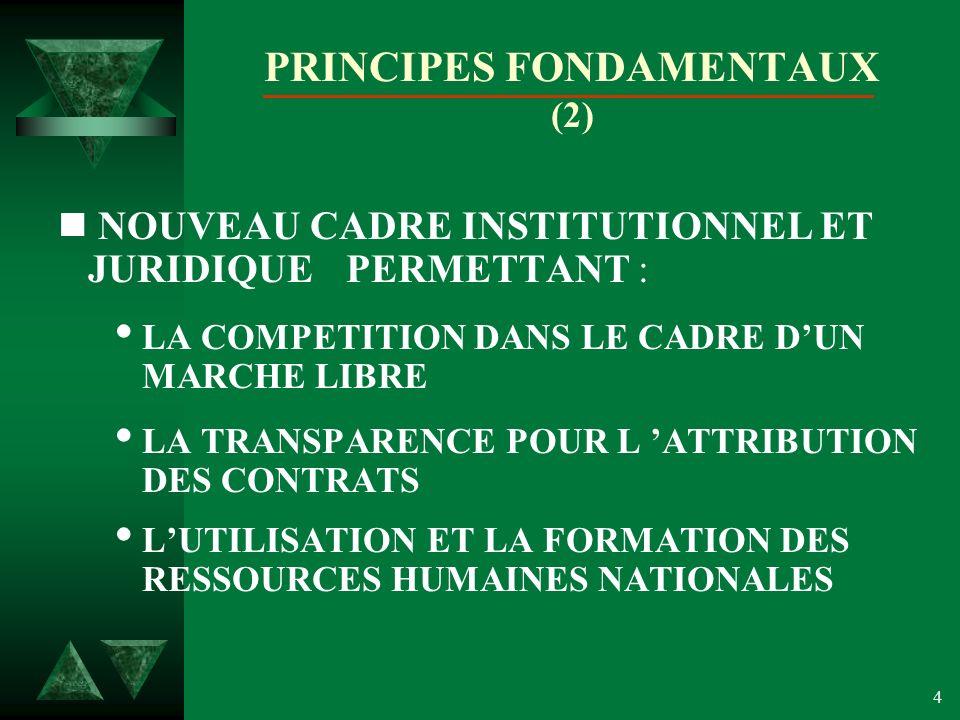 4 PRINCIPES FONDAMENTAUX (2) n NOUVEAU CADRE INSTITUTIONNEL ET JURIDIQUE PERMETTANT : LA COMPETITION DANS LE CADRE DUN MARCHE LIBRE LA TRANSPARENCE POUR L ATTRIBUTION DES CONTRATS LUTILISATION ET LA FORMATION DES RESSOURCES HUMAINES NATIONALES