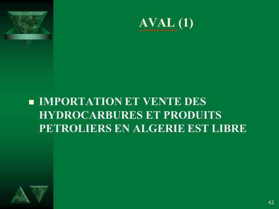 42 AVAL (1) n IMPORTATION ET VENTE DES HYDROCARBURES ET PRODUITS PETROLIERS EN ALGERIE EST LIBRE