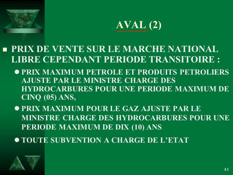 43 AVAL (2) n PRIX DE VENTE SUR LE MARCHE NATIONAL LIBRE CEPENDANT PERIODE TRANSITOIRE : lPRIX MAXIMUM PETROLE ET PRODUITS PETROLIERS AJUSTE PAR LE MINISTRE CHARGE DES HYDROCARBURES POUR UNE PERIODE MAXIMUM DE CINQ (05) ANS, lPRIX MAXIMUM POUR LE GAZ AJUSTE PAR LE MINISTRE CHARGE DES HYDROCARBURES POUR UNE PERIODE MAXIMUM DE DIX (10) ANS lTOUTE SUBVENTION A CHARGE DE LETAT