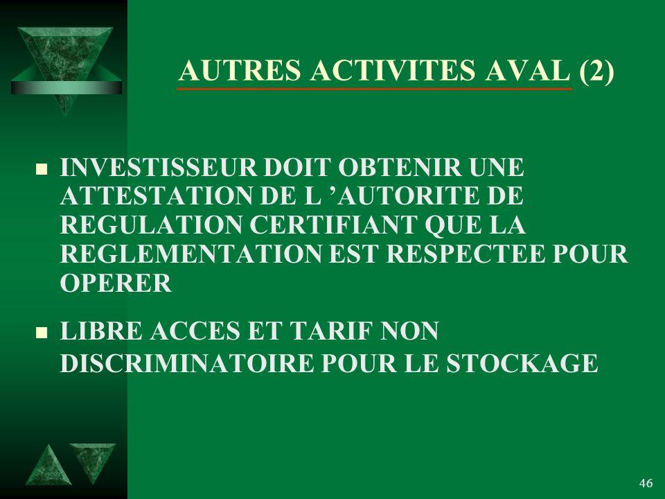 46 AUTRES ACTIVITES AVAL (2) n INVESTISSEUR DOIT OBTENIR UNE ATTESTATION DE L AUTORITE DE REGULATION CERTIFIANT QUE LA REGLEMENTATION EST RESPECTEE POUR OPERER n LIBRE ACCES ET TARIF NON DISCRIMINATOIRE POUR LE STOCKAGE