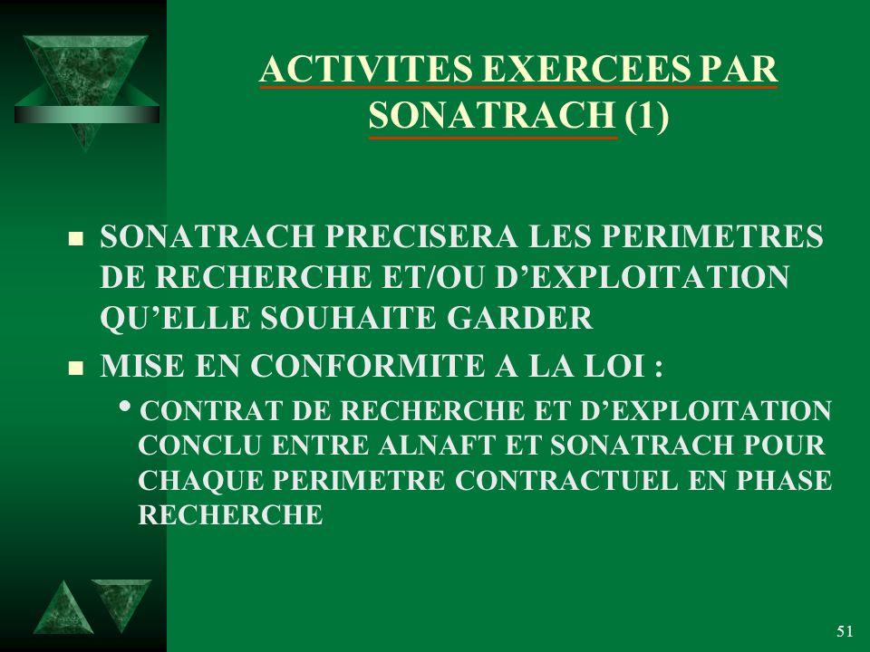 51 ACTIVITES EXERCEES PAR SONATRACH (1) n SONATRACH PRECISERA LES PERIMETRES DE RECHERCHE ET/OU DEXPLOITATION QUELLE SOUHAITE GARDER n MISE EN CONFORMITE A LA LOI : CONTRAT DE RECHERCHE ET DEXPLOITATION CONCLU ENTRE ALNAFT ET SONATRACH POUR CHAQUE PERIMETRE CONTRACTUEL EN PHASE RECHERCHE
