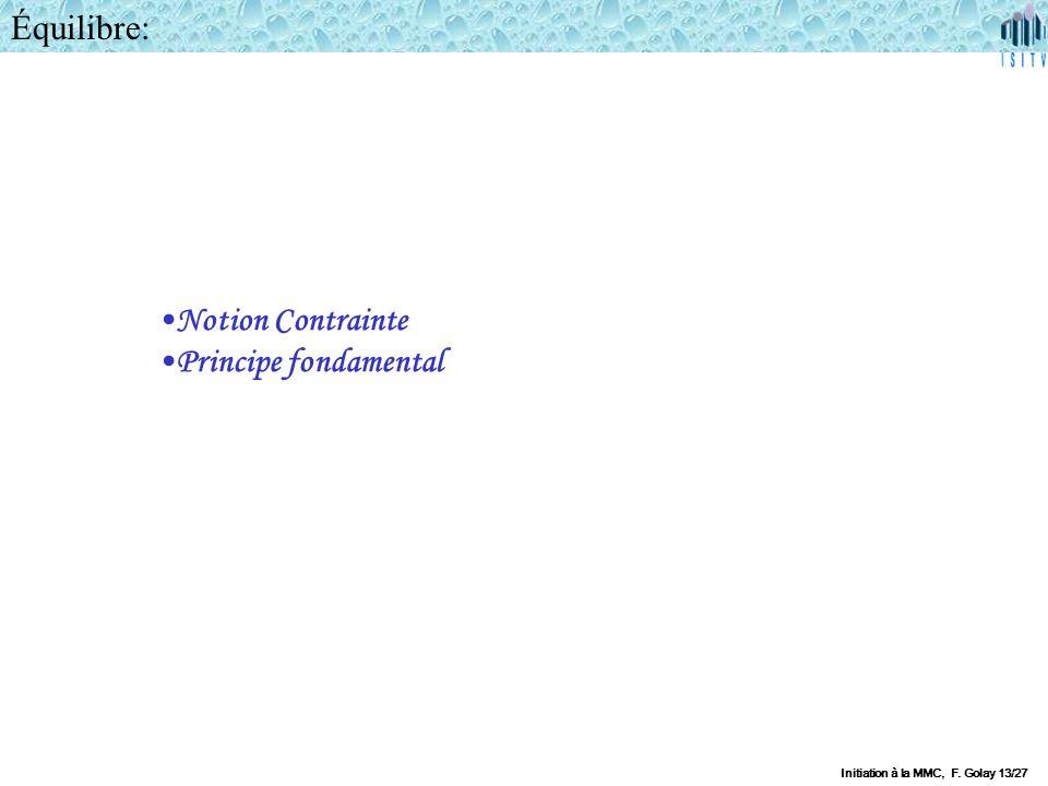 Équilibre: Notion Contrainte Principe fondamental Initiation à la MMC, F. Golay 13/27