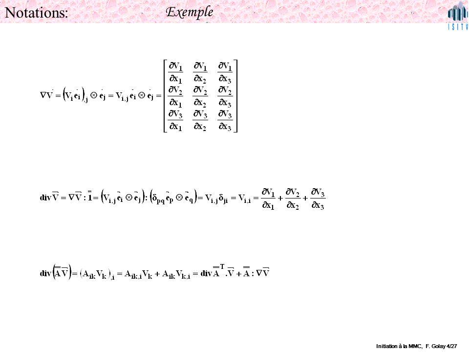 Initiation à la MMC, F. Golay 4/27 Notations: Exemple