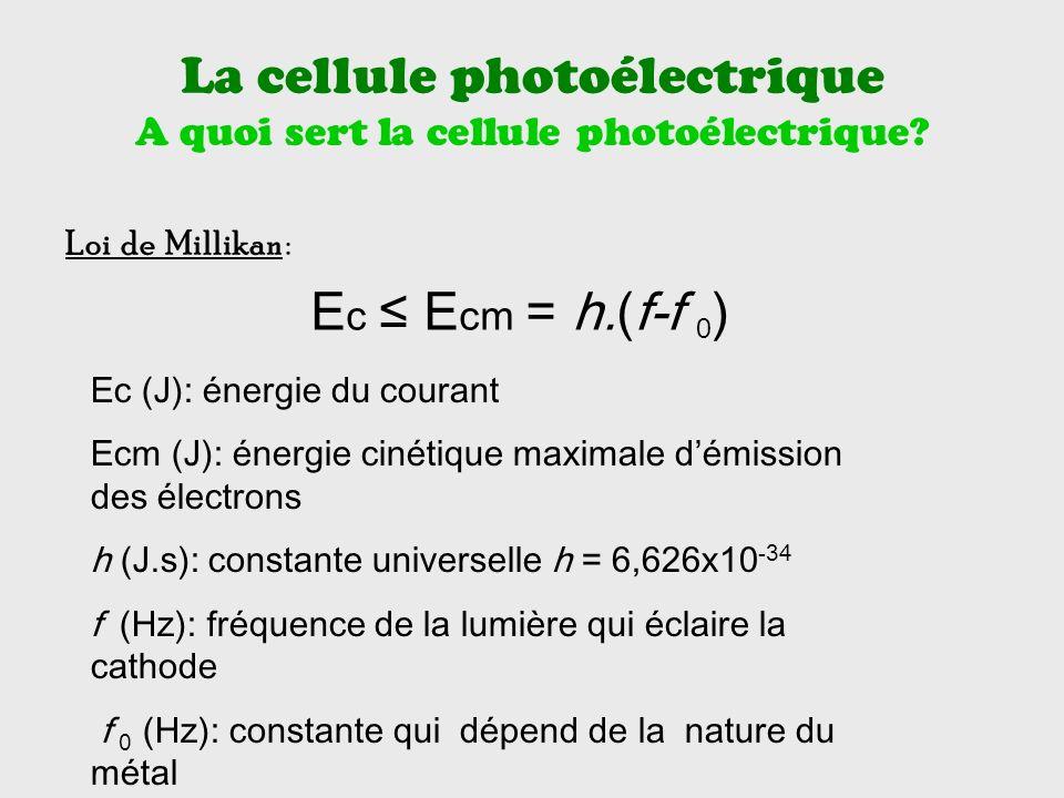 La cellule photoélectrique A quoi sert la cellule photoélectrique.