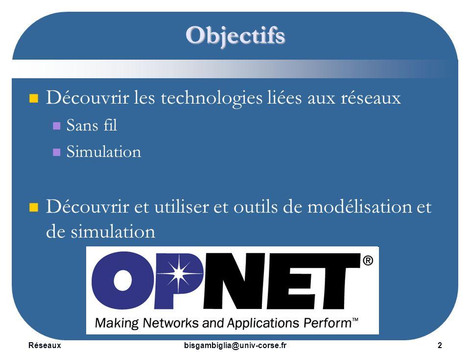 Réseaux3bisgambiglia@univ-corse.fr Technologies sans fil Jean-Sébastien Gualtieri Modélisation et Simulation de réseaux .
