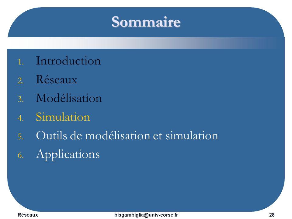 Réseaux29bisgambiglia@univ-corse.fr Simulation La modélisation est la conception d un modèle.