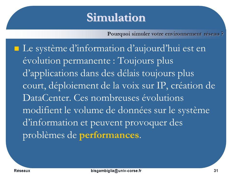 Réseaux32bisgambiglia@univ-corse.fr Simulation Les applications déployées, critiques pour le fonctionnement de lentreprise, sont passées dans des processus complets permettant de valider leurs bons fonctionnements et un niveau de performances satisfaisant.