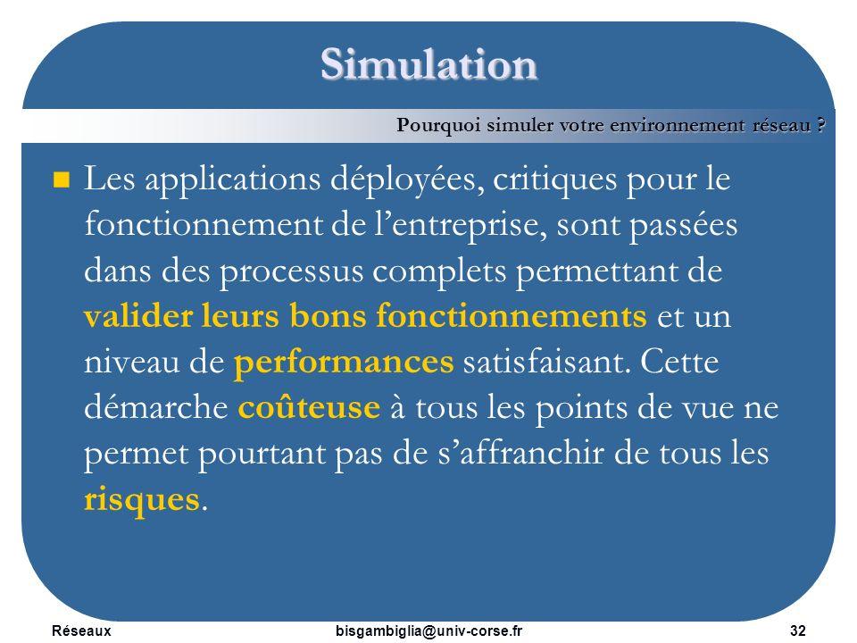 Réseaux33bisgambiglia@univ-corse.fr Simulation La composante réseau peut avoir un impact fort sur les performances des applications déployées.