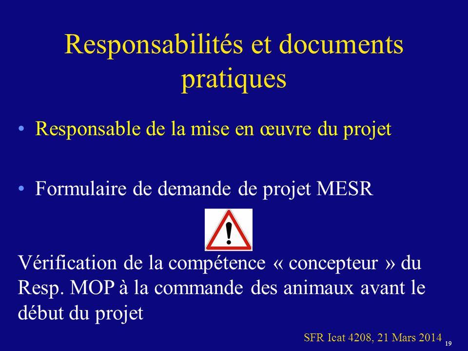 19 SFR Icat 4208, 21 Mars 2014 Responsabilités et documents pratiques Responsable de la mise en œuvre du projet Formulaire de demande de projet MESR Vérification de la compétence « concepteur » du Resp.