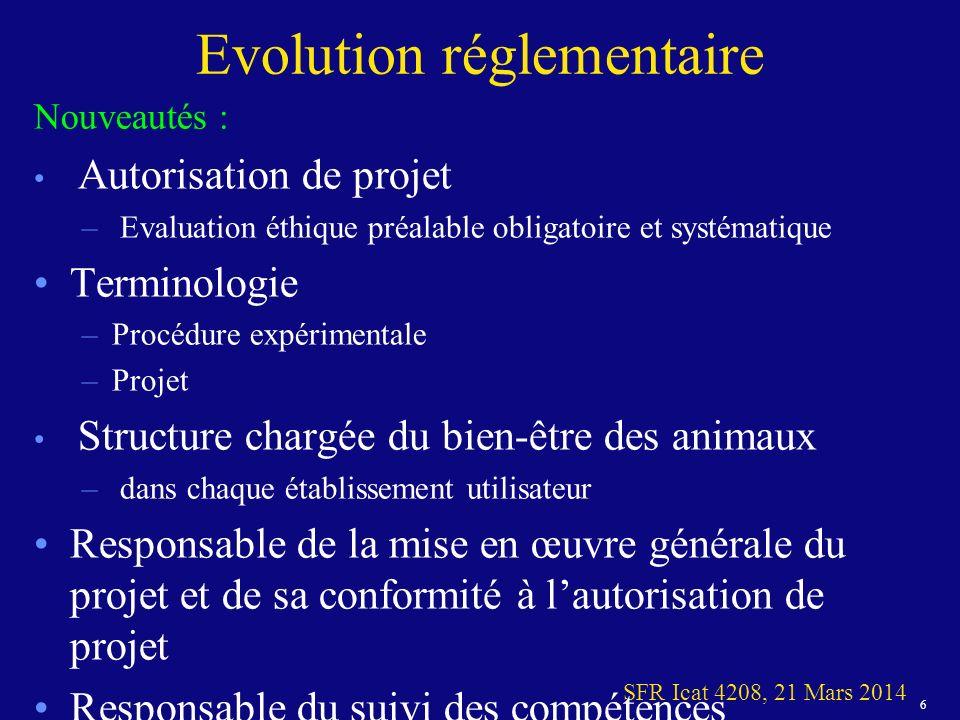 17 SFR Icat 4208, 21 Mars 2014 Plan 1.Evolution réglementaire 1.En pratique