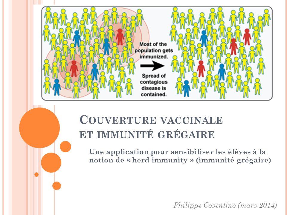 C OUVERTURE VACCINALE ET IMMUNITÉ GRÉGAIRE Une application pour sensibiliser les élèves à la notion de « herd immunity » (immunité grégaire) Philippe