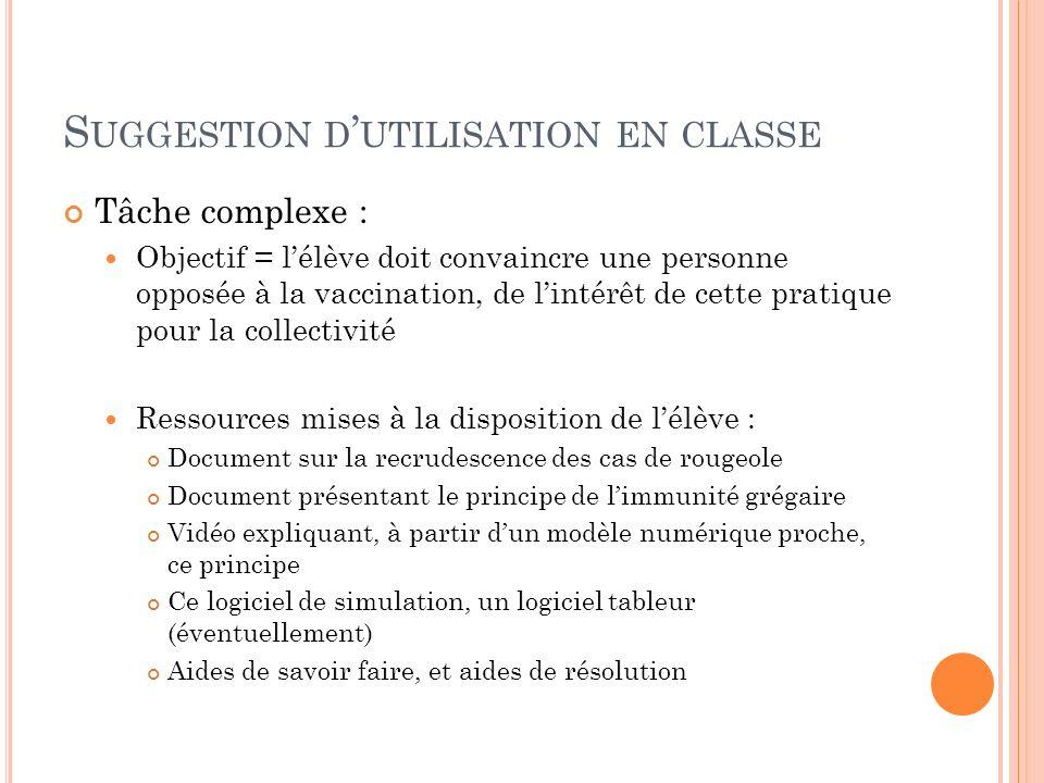 S UGGESTION D UTILISATION EN CLASSE Tâche complexe : Objectif = lélève doit convaincre une personne opposée à la vaccination, de lintérêt de cette pra