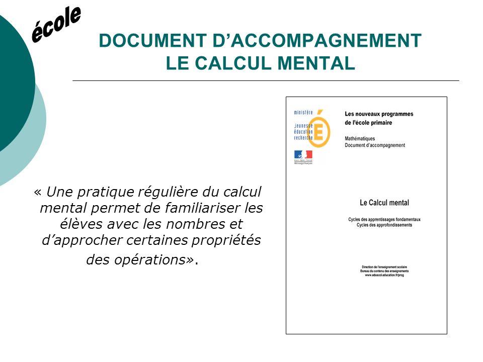 DOCUMENT DACCOMPAGNEMENT UTILISER LES CALCULATRICES EN CLASSE « Le collégien doit avoir recours à la calculatrice de façon naturelle.