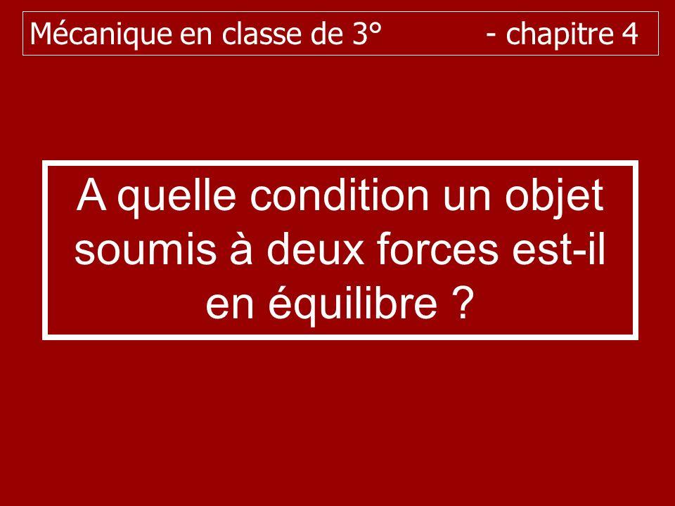 A quelle condition un objet soumis à deux forces est-il en équilibre ? Mécanique en classe de 3° - chapitre 4
