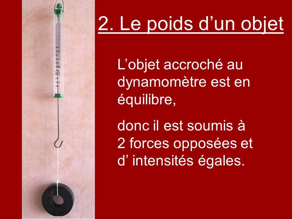 Lobjet accroché au dynamomètre est en équilibre, donc il est soumis à 2 forces opposées et d intensités égales. 2. Le poids dun objet