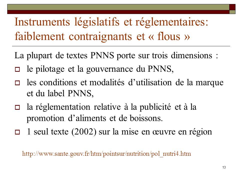 13 Instruments législatifs et réglementaires: faiblement contraignants et « flous » La plupart de textes PNNS porte sur trois dimensions : le pilotage