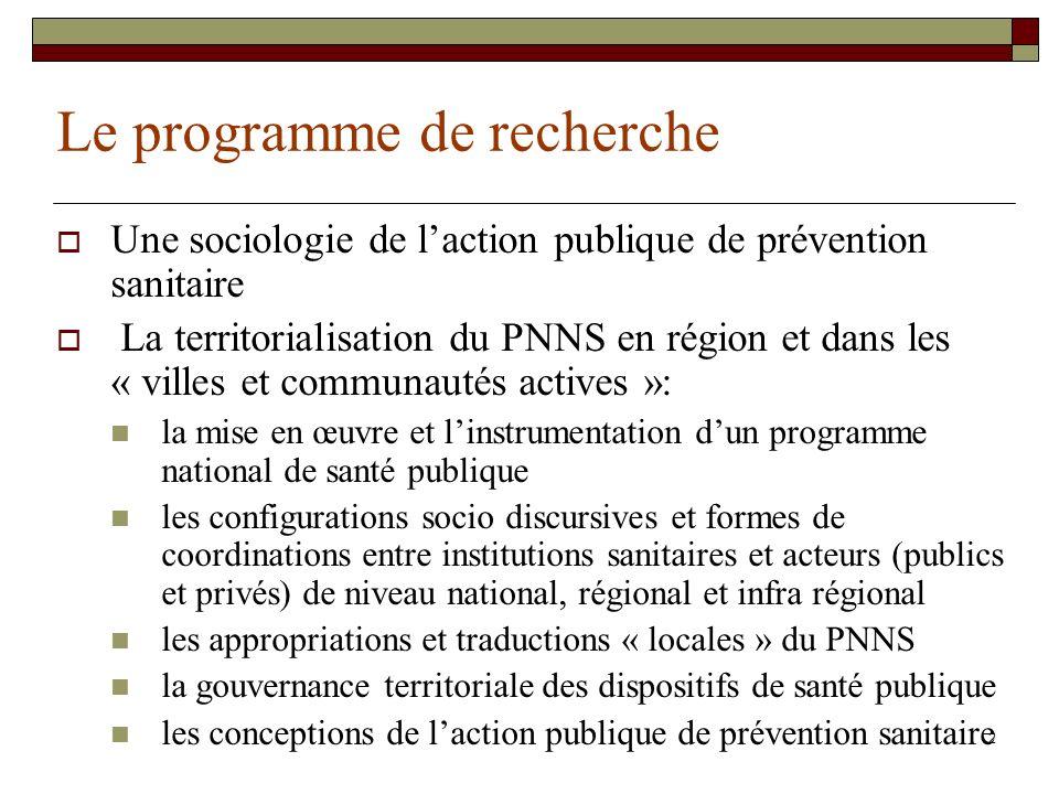 2 Le programme de recherche Une sociologie de laction publique de prévention sanitaire La territorialisation du PNNS en région et dans les « villes et