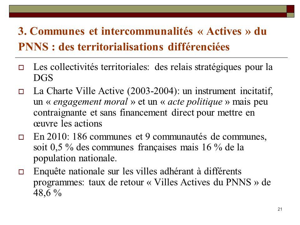 21 3. Communes et intercommunalités « Actives » du PNNS : des territorialisations différenciées Les collectivités territoriales: des relais stratégiqu