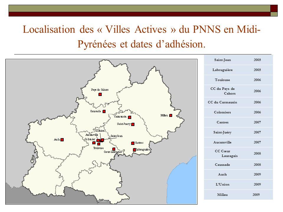 22 Localisation des « Villes Actives » du PNNS en Midi- Pyrénées et dates dadhésion. Saint-Jean2005 Labruguière2005 Toulouse2006 CC du Pays de Cahors