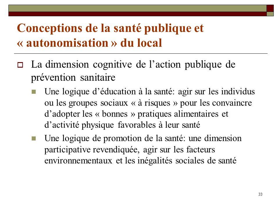 33 Conceptions de la santé publique et « autonomisation » du local La dimension cognitive de laction publique de prévention sanitaire Une logique dédu